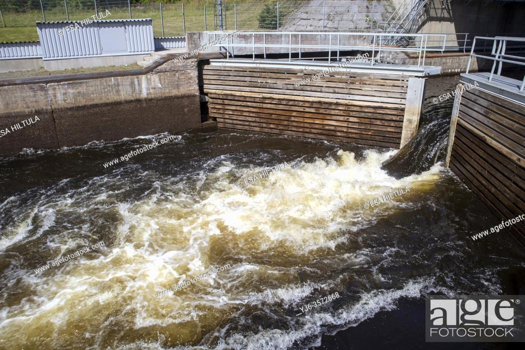 Stock Photo: Lock gate opening in Taipale canal, Varkaus Finland.