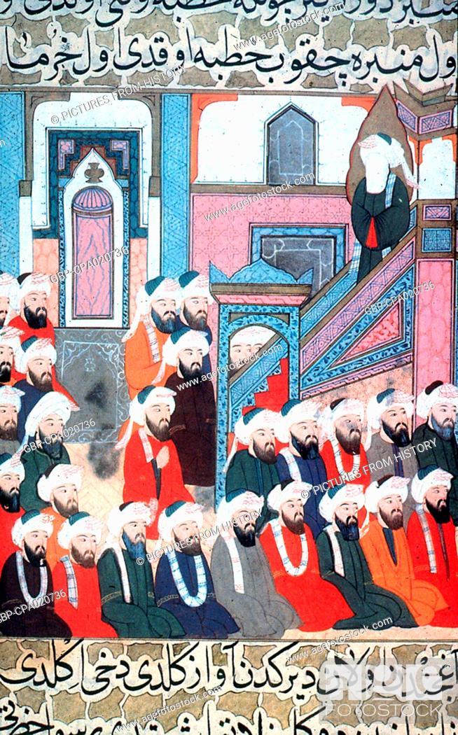 turkey arabia the prophet muhammad preaching from a minbar