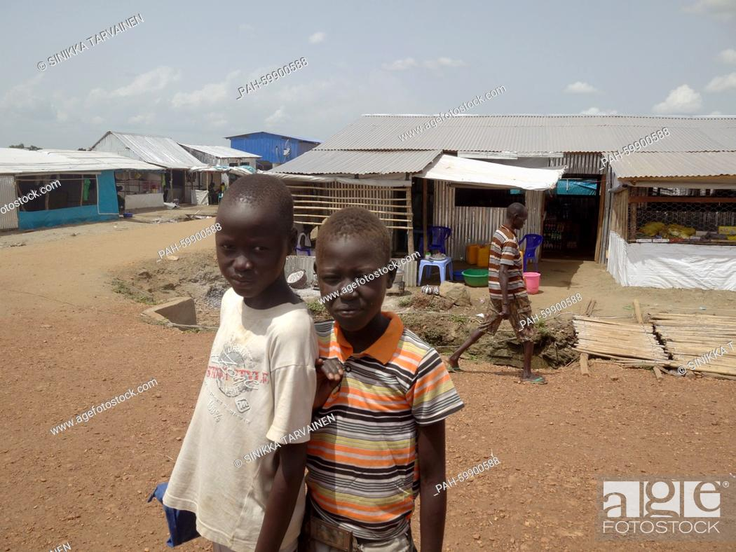 Two boys in the UN refugee camp in Juba, South Sudan, 15 June 2015