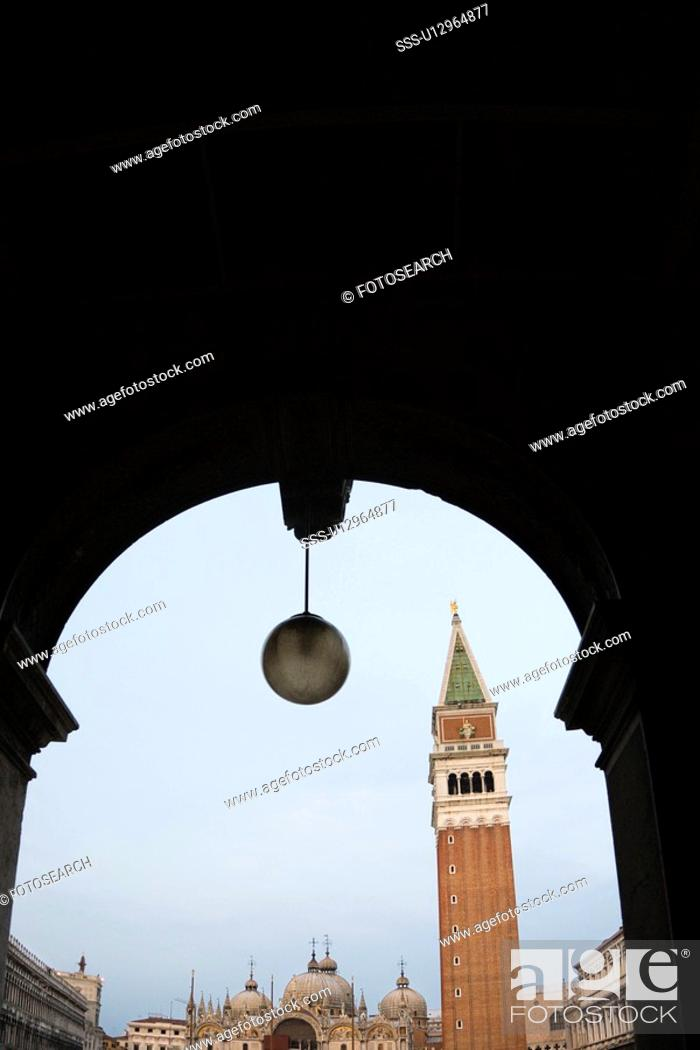 Stock Photo: Campanile in Piazza San Marco in Venice, Italy viewed from arched doorway.
