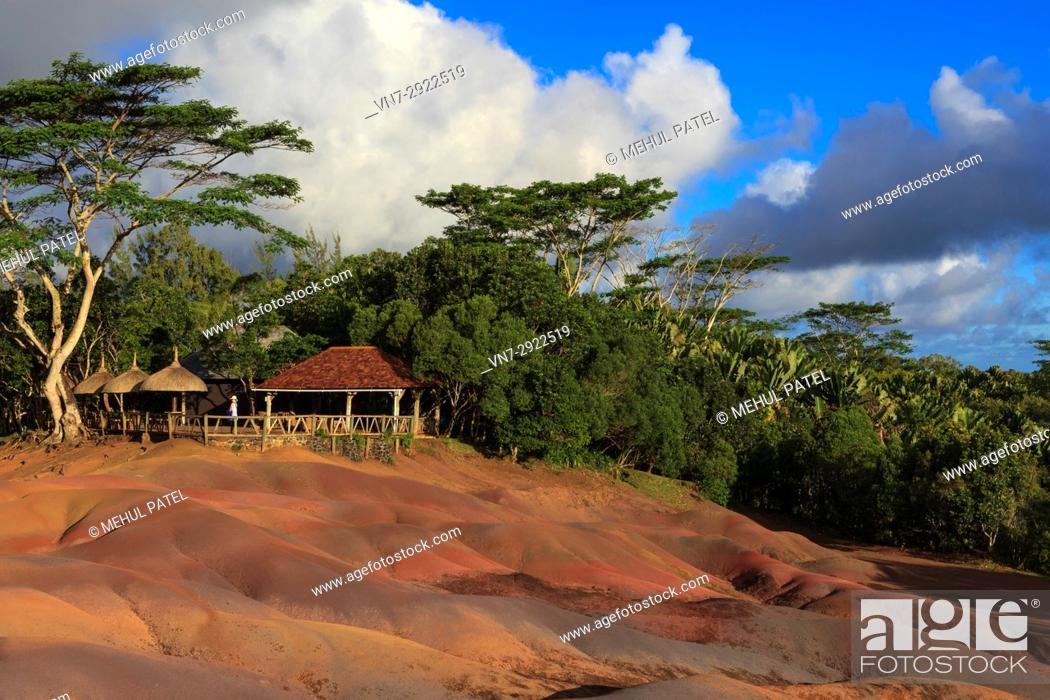 Stock Photo: Coloured Earths (Terres de Couleurs), Chamarel, Mauritius. The Coloured Earths is geological formation and prominent tourist attraction located near the village.