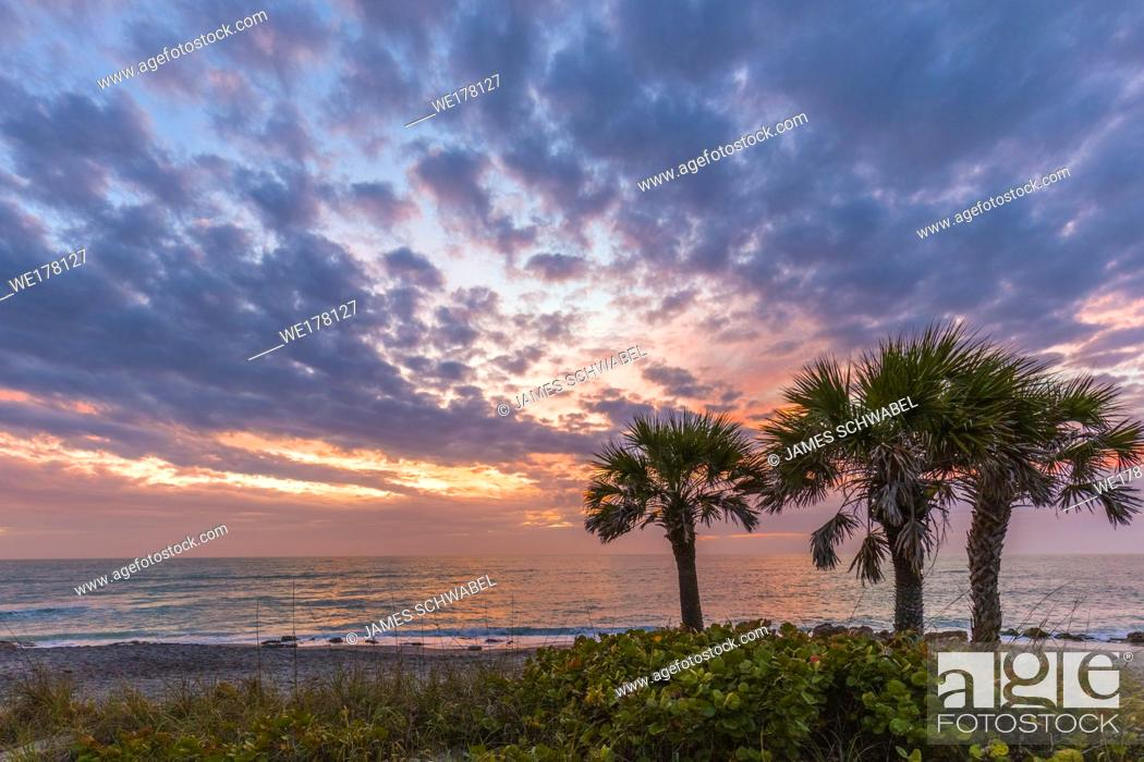 Stock Photo: Sunset over Gulf of Mexico at Caspersen Beach in Venice Florida in the United States.