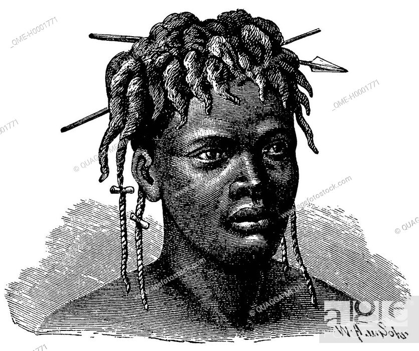 Stock Photo: Portrait of an African woman (Njammjam), woman from Africa.