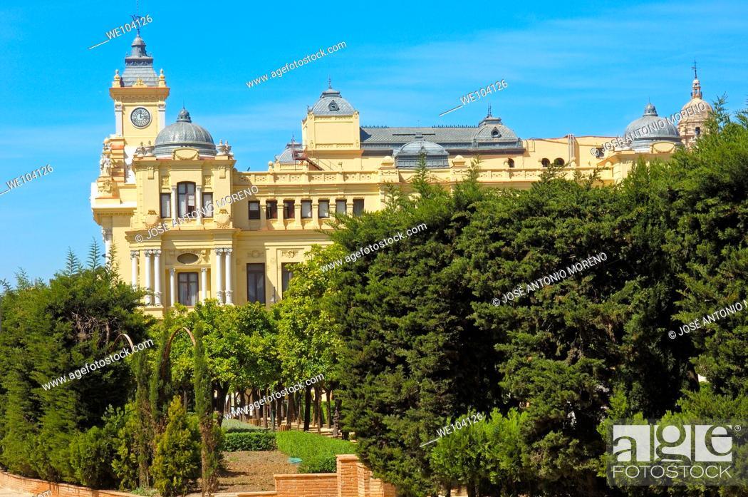 Stock Photo: Town Hall, Malaga, Costa del Sol, Andalusia, Spain.