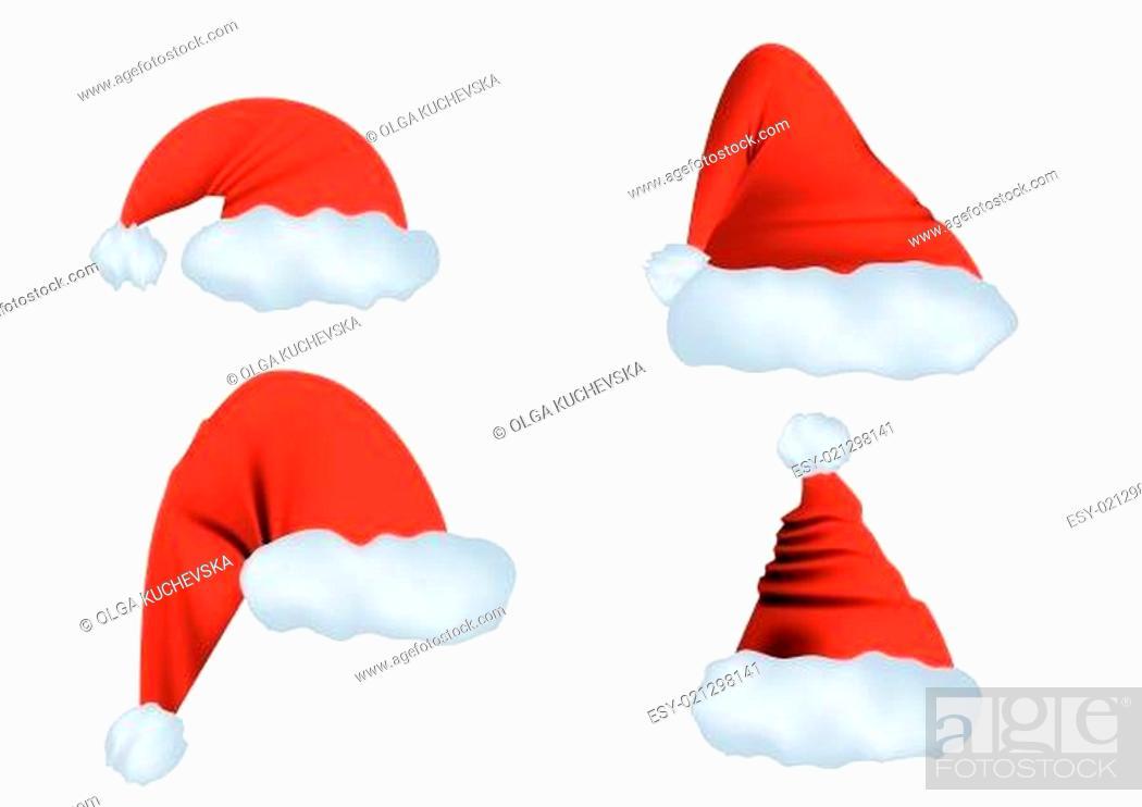 Stock Vector: Santa Claus hat.