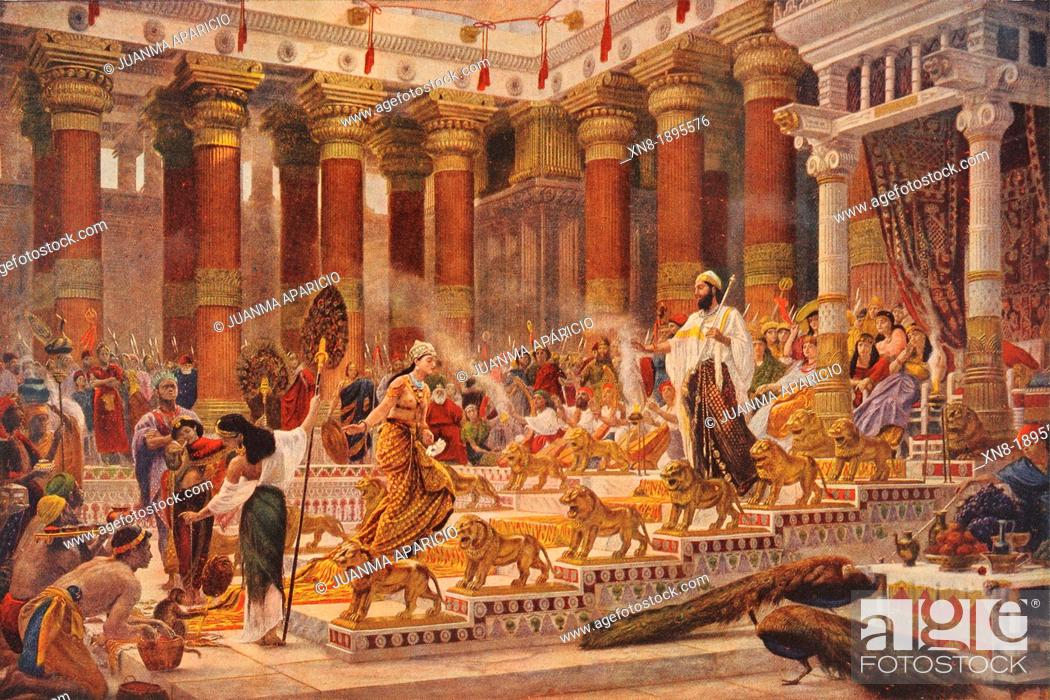 Stock Photo: The Visit of the Queen of Sheba to King Solomon by English painter Sir Edward John Poynter, 1st Baronet (20 March 1836 - 26 July 1919).