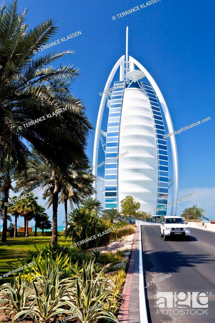 Stock Photo: The Burj Al Arab Hotel on Jumeirah beach in Dubai, UAE.