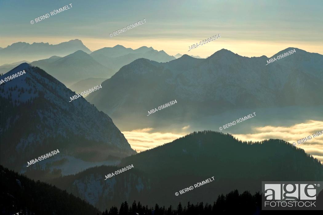 Stock Photo: Germany, Bavaria, Upper Bavaria, Tölzer country, Bavarian alps, view of the Rabenkopf on Jochberg, Wetterstein Range, Zugspitze massif, Simetsberg, Estergebirge.