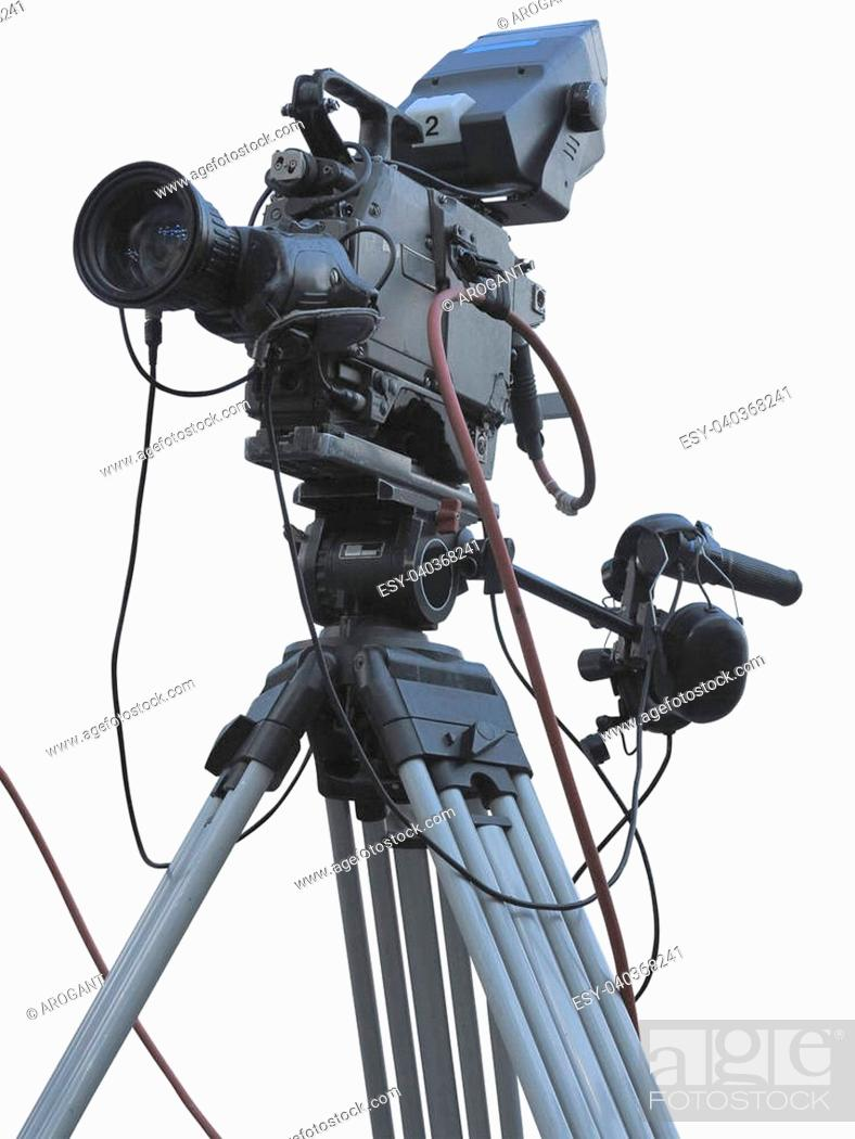 Stock Photo: TV Professional studio digital video camera on tripod isolated over white background.