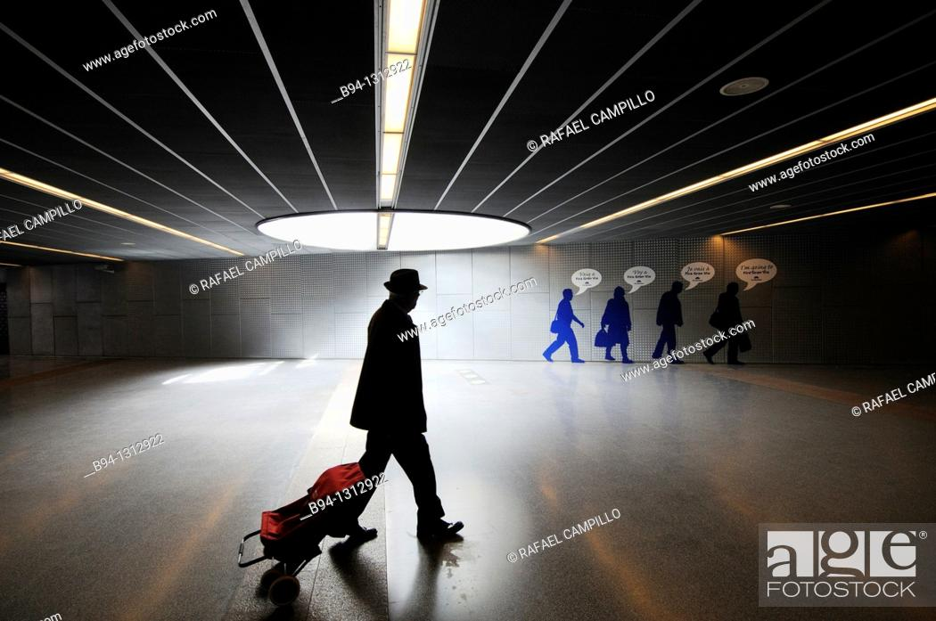 Stock Photo: Subway station, L'Hospitalet de Llobregat, Barcelona province, Catalonia, Spain.