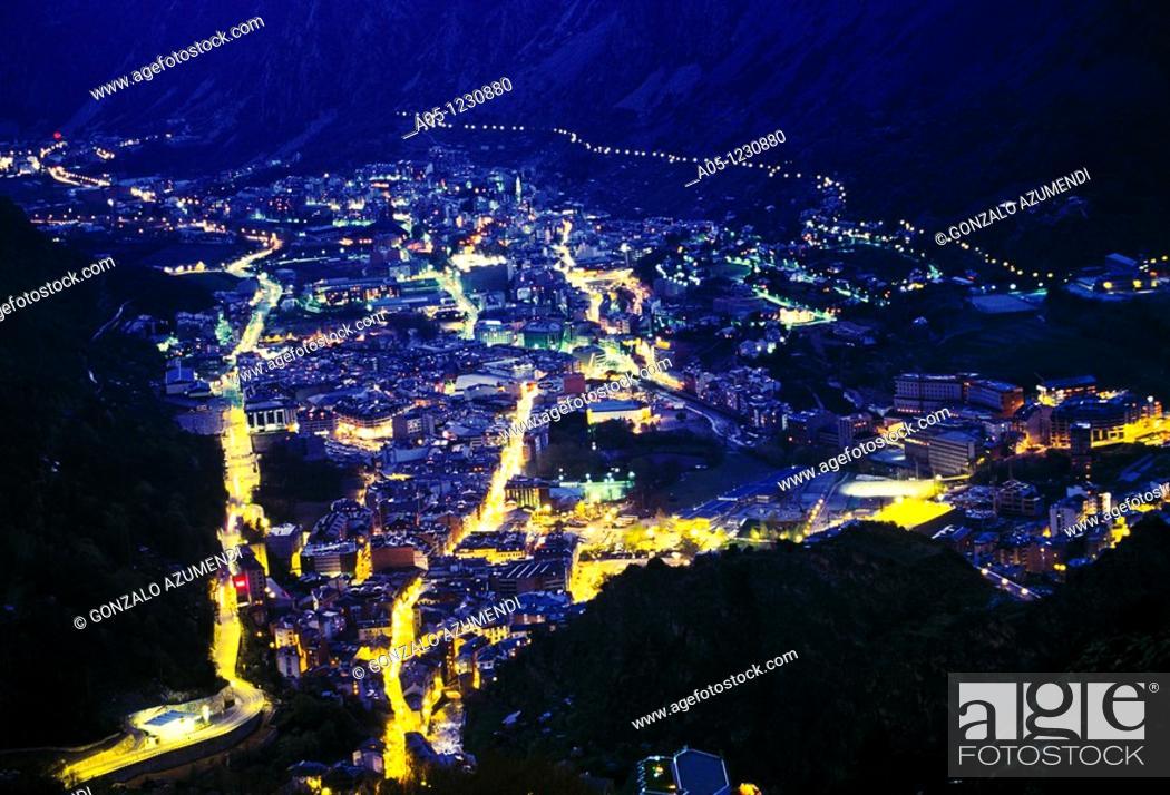 Stock Photo: Night  Escaldes and Andorra la Vella  ANDORRA.