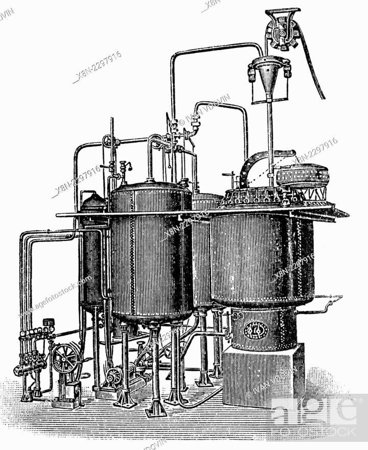 stock photo - vintage textile manufacture equipment, boiler, illustration  from soviet encyclopedia, 1927