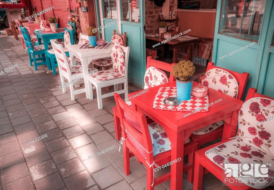 Retro Vintage View Of Pastel Coffee Shop With Wooden Tables And Chairs In Balat Stock Photo Picture And Low Budget Royalty Free Image Pic Esy 044009931 Agefotostock