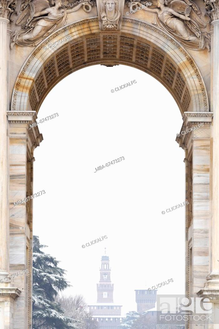 Stock Photo: Sforza Castle from the central window of the Arch of Peace, Milan, Lombardy, Northern Italy, Italy,.