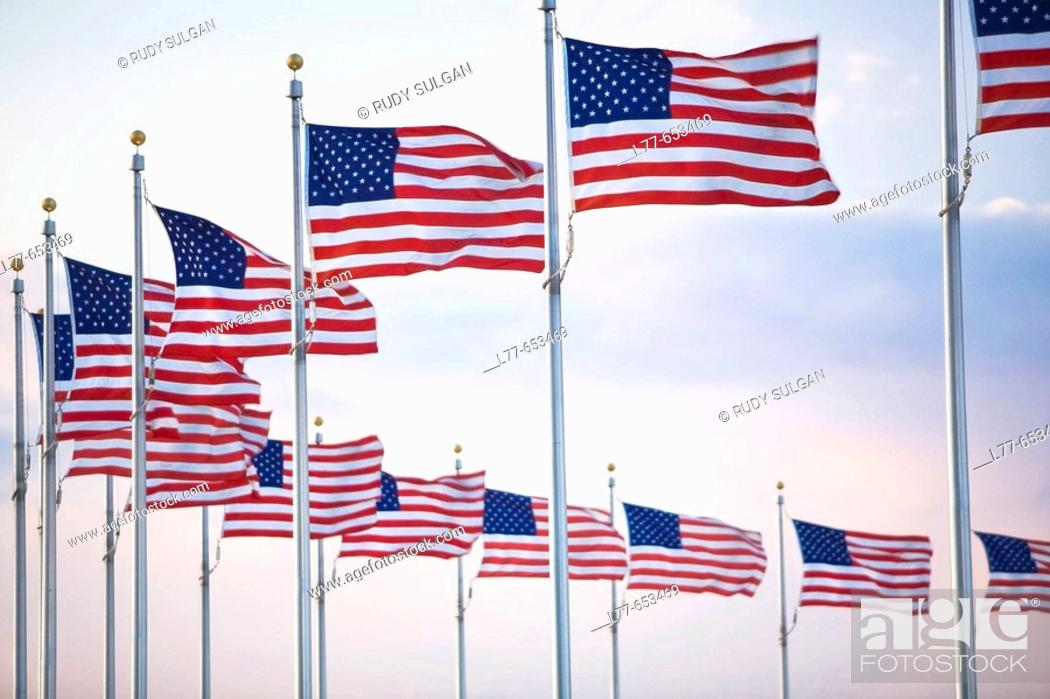 Stock Photo: American Flags.