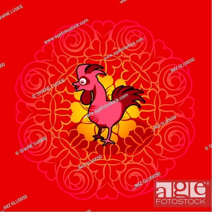 Stock Photo: Chinese new year symbol of rooster.