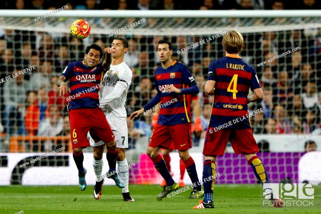 Stock Photo: 2015 La Liga Football Real Madrid v FC Barcelona Nov 21st. 21.11.2015. Madrid, Spain. Daniel Alver da Silva (6) FC Barcelona and Cristiano Ronaldo dos Santos.