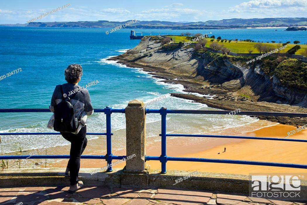 Stock Photo: Playa de Mataleñas , Cabo Menor, Santander, Cantabria, Spain, Europe.