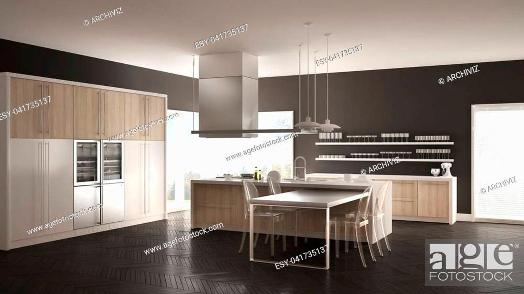 Stock Photo: Minimalistic modern kitchen with table, chairs and parquet floor, white and gray interior design.