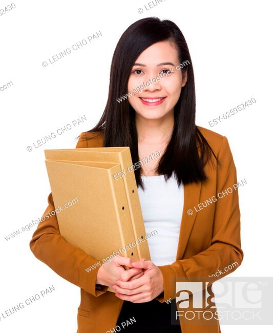 Stock Photo: Asian Businesswoman hold with folder.