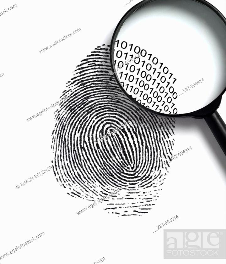 Stock Photo: Fingerprint with a Magnifying Glass Revealling Binary Code.