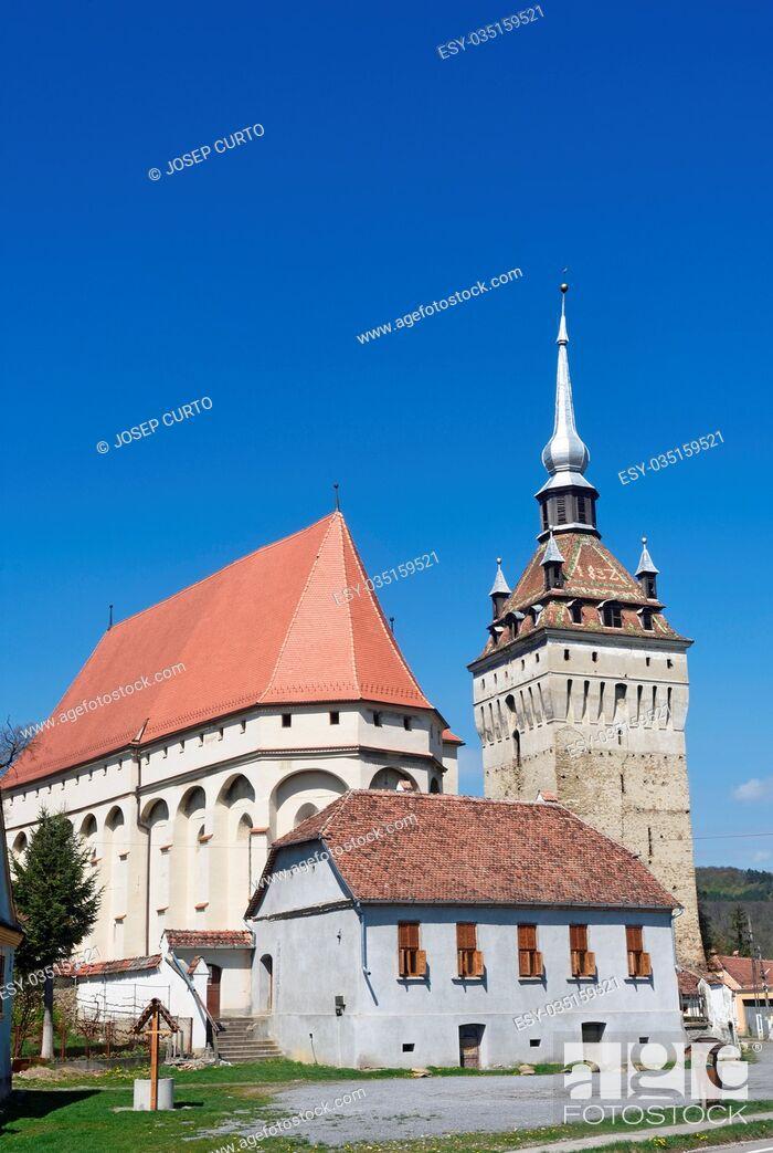 Photo de stock: Protestant church built in the Gothic style Saschiz, Transylvania, Romania.