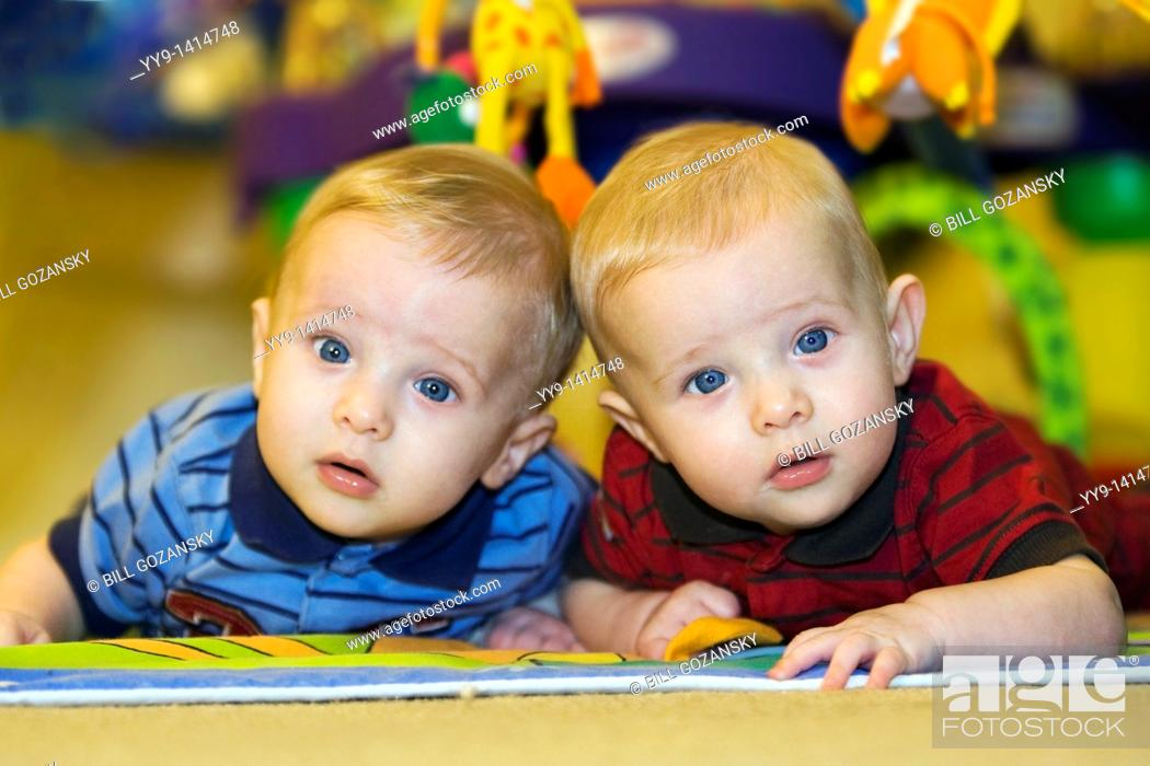 Stock Photo: Portrait of twin baby boys - Hollywood, Florida USA.