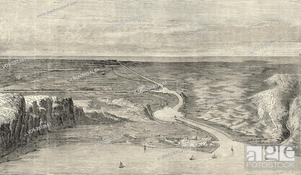 Stock Photo: Panoramic overview of the Suez Isthmus, Egypt. Old engraving illustration Prince of Wales Albert Edward tour of India. El Mundo en la Mano 1878.