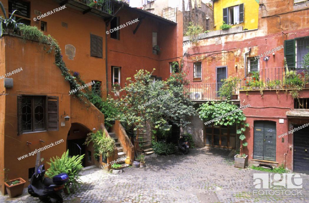Stock Photo: 10649884, Arco degli acetari, flowers, facade, houses, homes, idyllic, Italy, Europe, plants, Rome, residential buildings,.