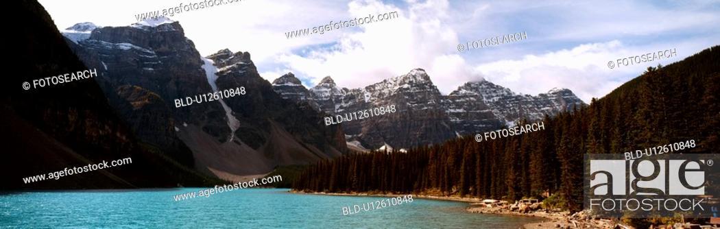 Stock Photo: sky, river, cloud, icecap, forest, panorama.