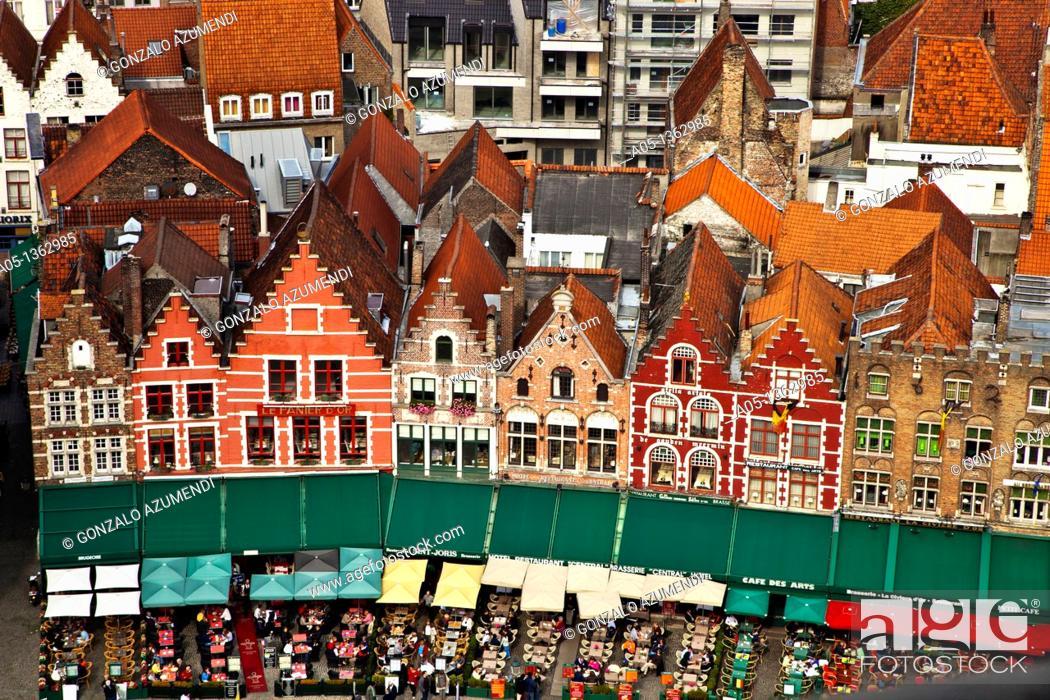 Stock Photo: Aerial View Markt Square, Bruges, Brugge, Flanders,Belgium, UNESCO World Heritage Site.