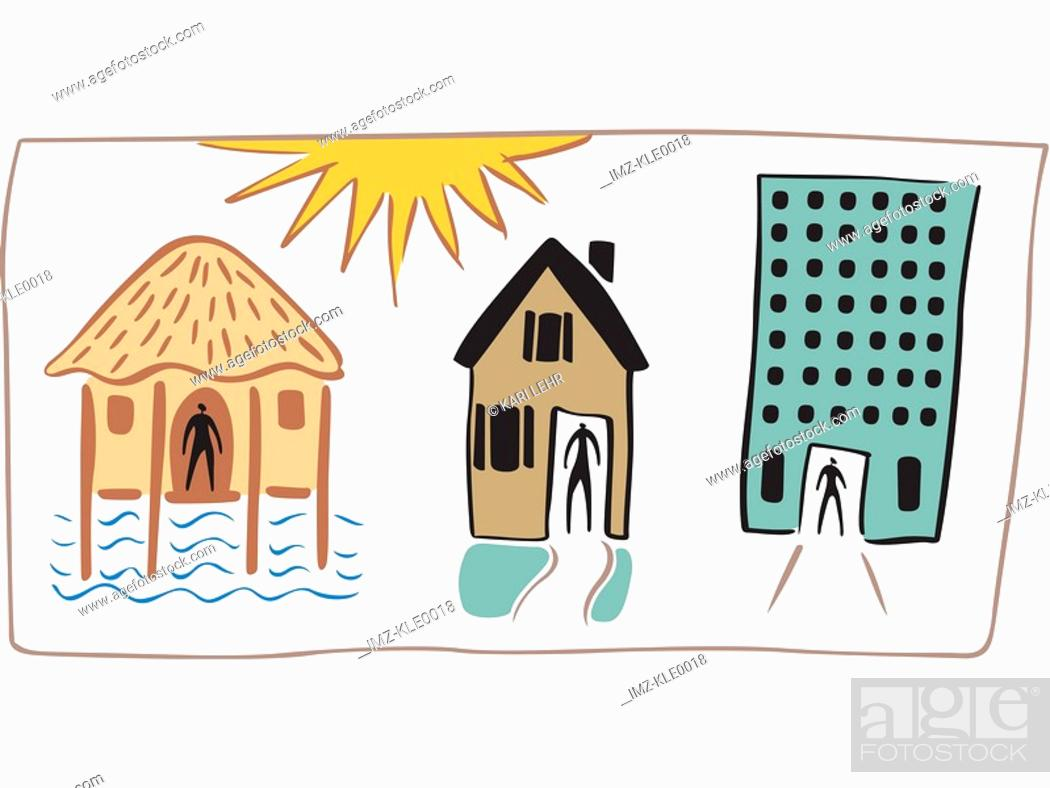 Stock Photo: People living in a hut,a house and a high rise apartment.