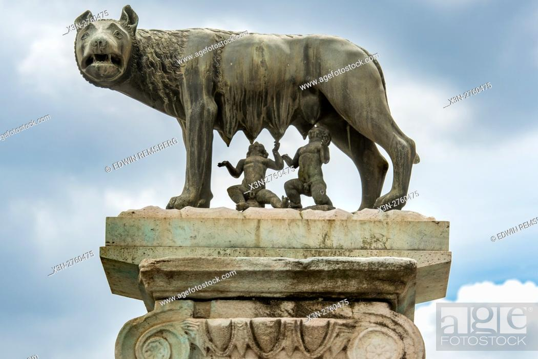 Stock Photo: Rome, Italy- Close up of the famous sculpture Lupa Capitolina, otherwise known as the Capitoline Wolf and the Twins found in Rome.