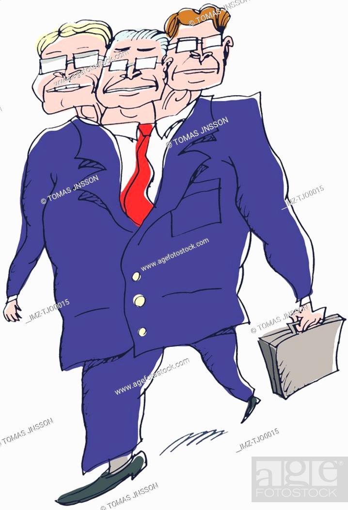 Stock Photo: An illustration of a three headed businessman.