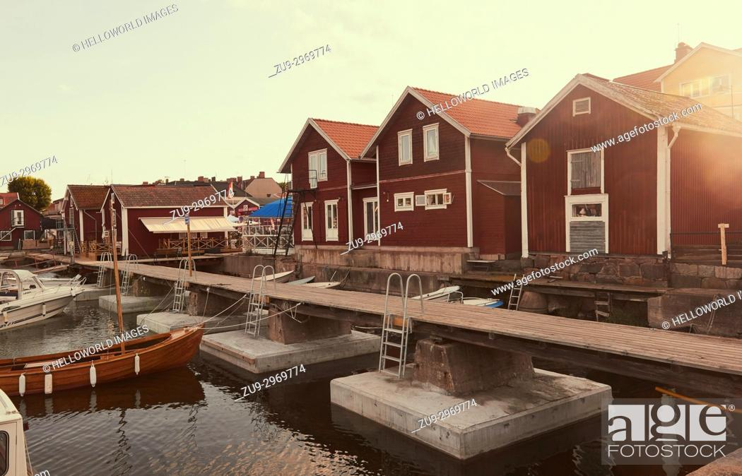 Stock Photo: Timber cabins on waterfront, Oregrund harbour, Uppsala County, Sweden, Scandinavia.