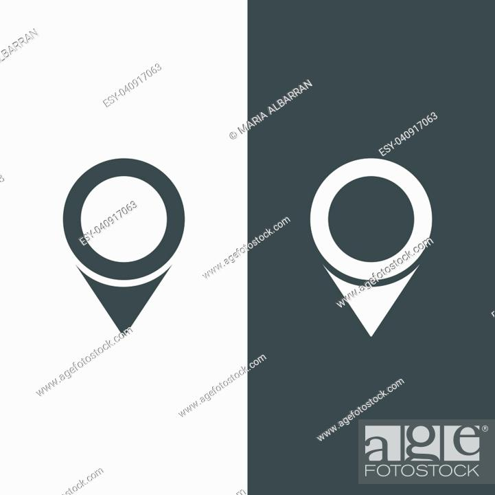 Stock Vector: Isolated location icon for maps on a black and white background. Vector illustration.