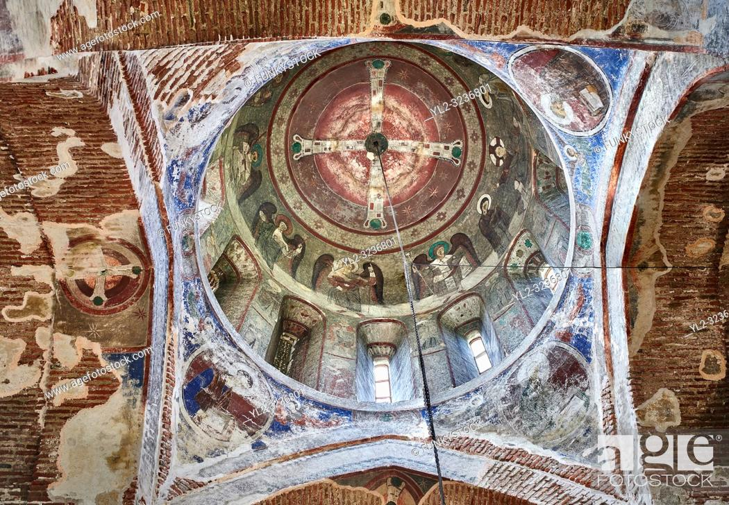 Photo de stock: Pictures & imagse of the interior cupola frescoes of the Timotesubani medieval Orthodox monastery Church of the Holy Dormition (Assumption).