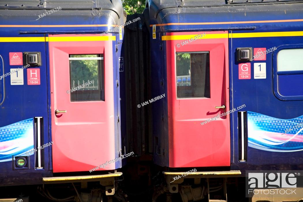 Stock Photo: Great Western train doors carriage detail.