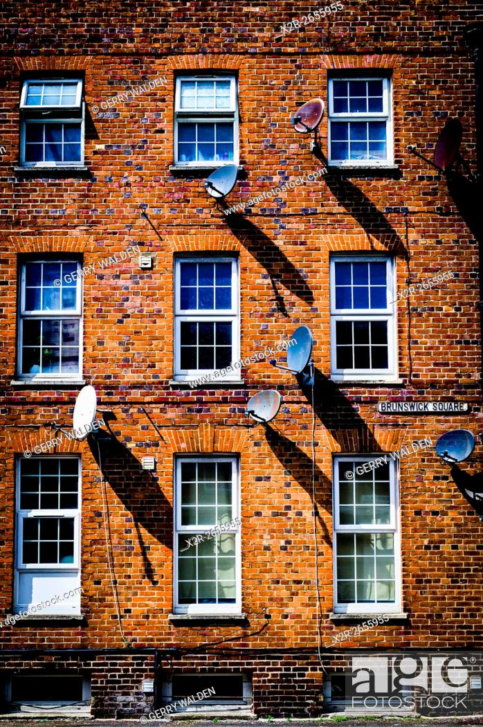 Stock Photo: Satellite Dishes and Shadows (Brunswick Square, Southampton).