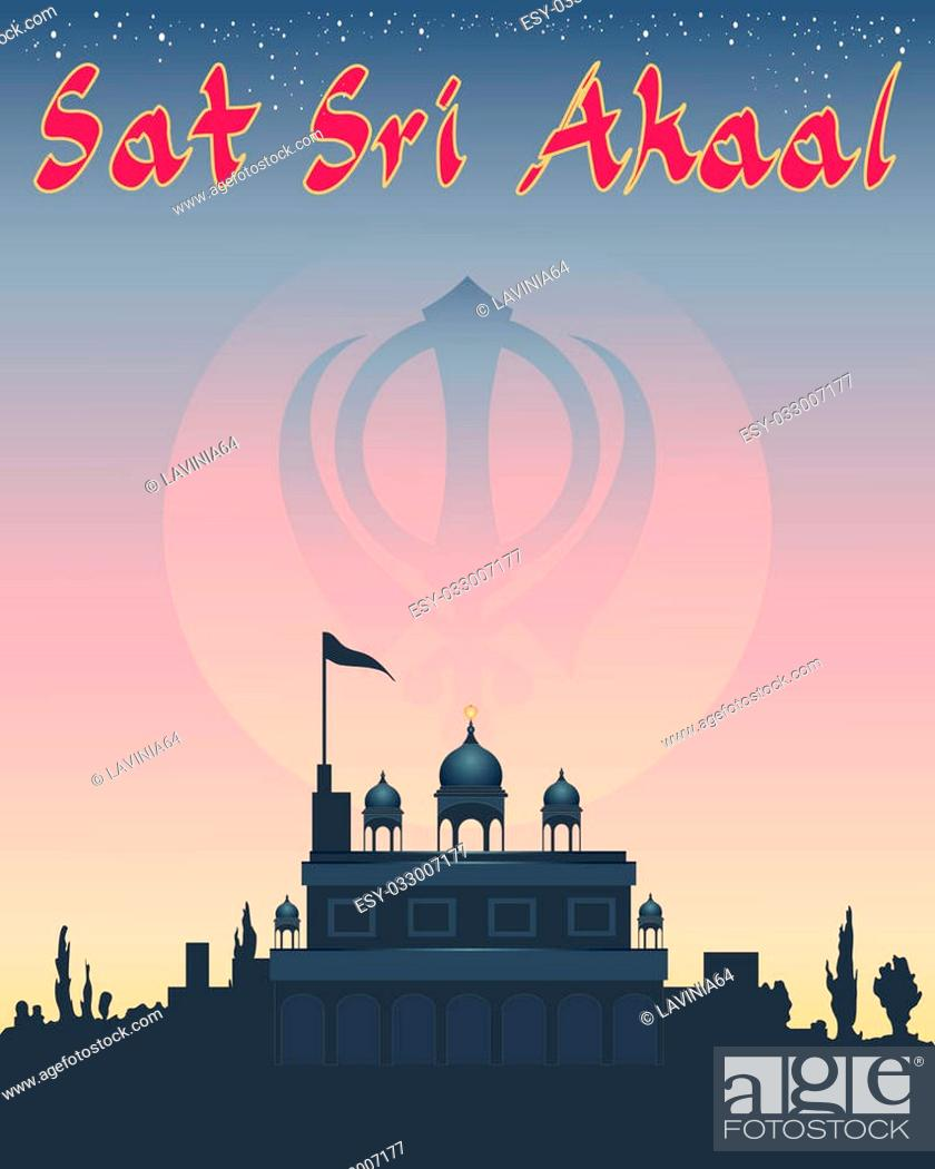 an illustration of a sikh greeting sat sri akaal meaning god