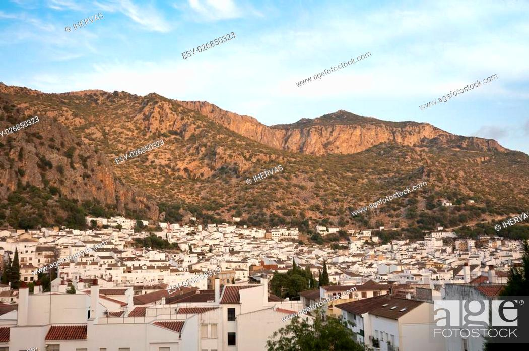 Stock Photo: This village is part of the pueblos blancos (white towns) in southern Spain Andalusia region, and reminds the Arab past.