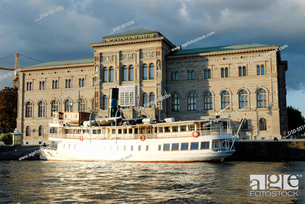 Stock Photo: Sweden's National Museum and ferry boat. Stockholm. Sweden.