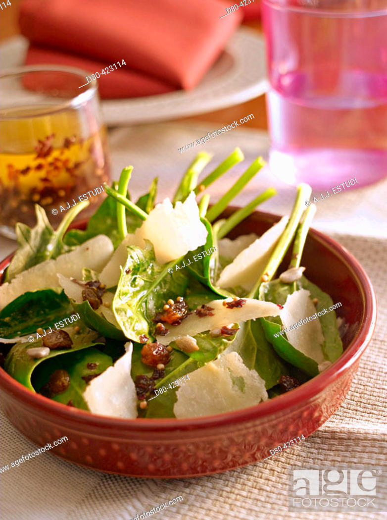 Stock Photo: Spinach and cheese salad.