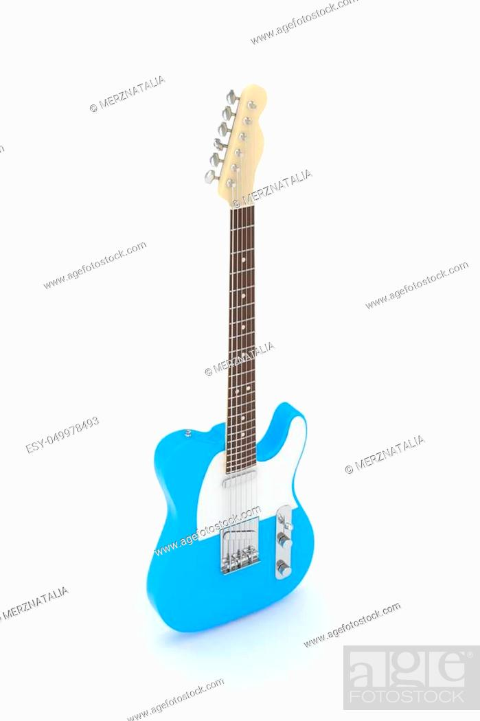 Stock Photo: Isolated blue electric guitar on white background. Musical instrument for rock, blues, metal songs. 3D rendering.