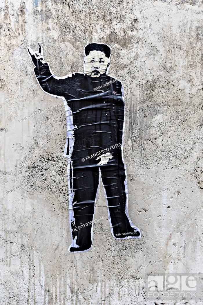 Stock Photo: Murals by the street artist street artist Laika on the President of the Democratic People's Republic of Korea Kim Jong-un Rome, ITALY-03-05-2020.