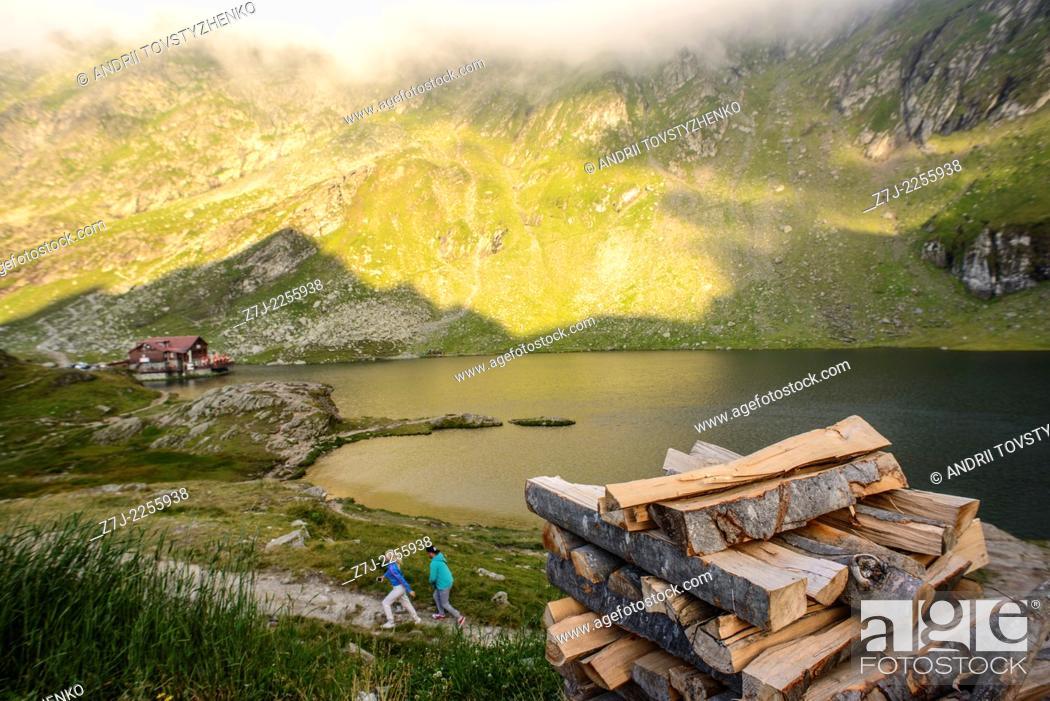 Stock Photo: lake Balea near mountain road in Romania.