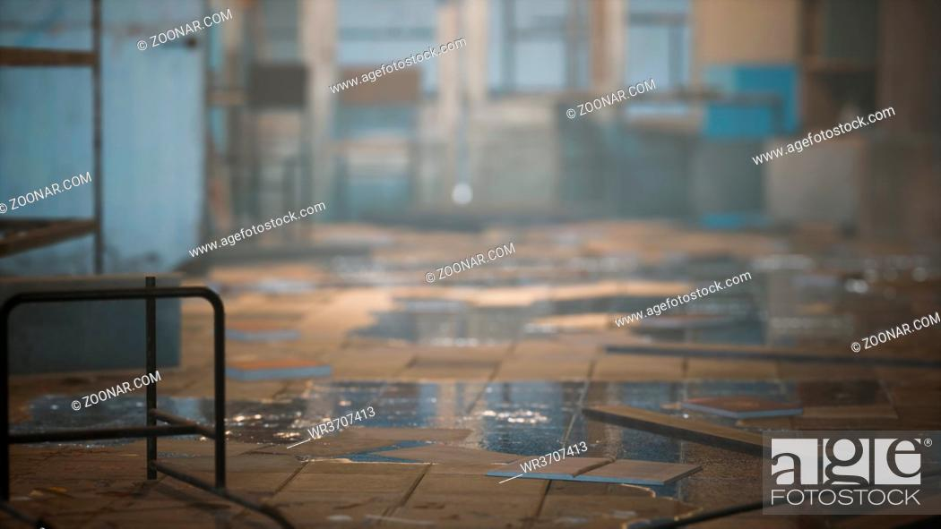 Stock Photo: interior of the abandoned soviet building.