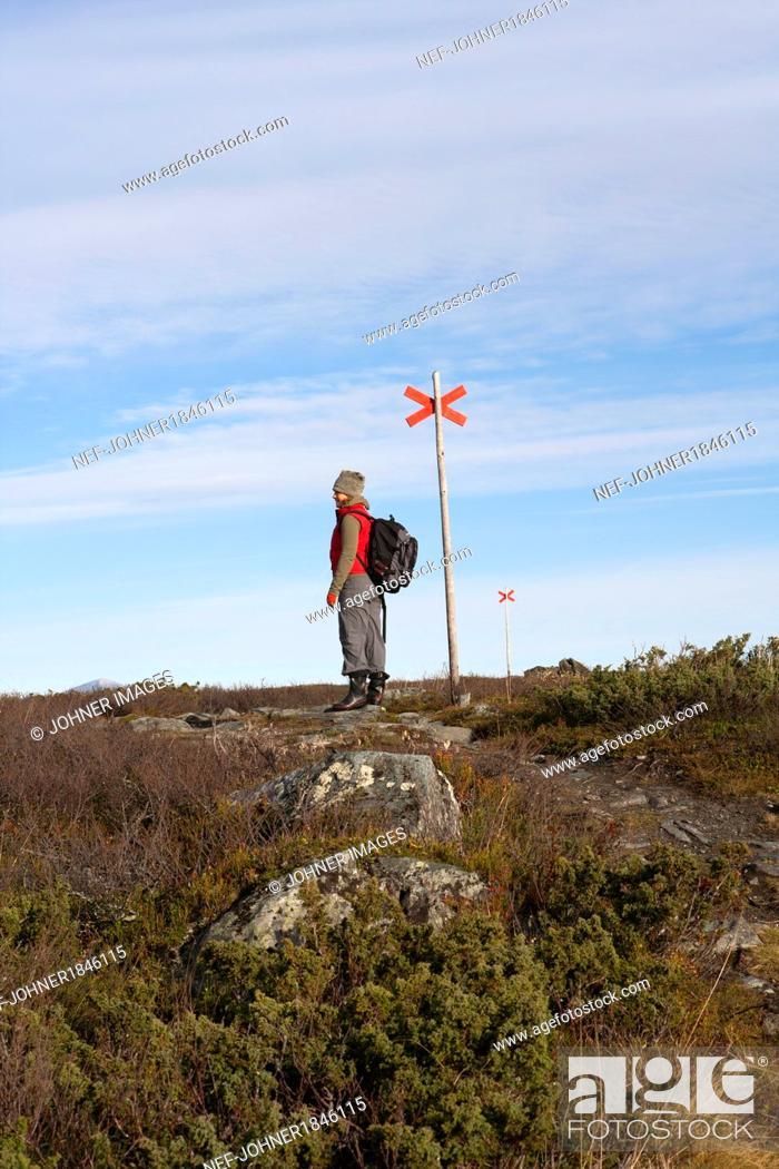 Photo de stock: Woman hiker standing near trail sign.