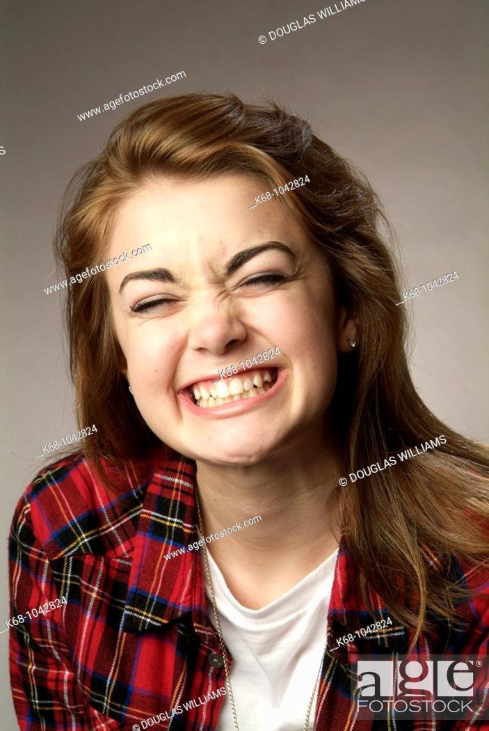 Stock Photo: girl, 14, headshot, in studio.