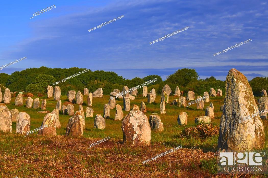 Stock Photo: Carnac, Megalithic stones, Megalitic alignments, Morbihan, Bretagne, Brittany, France, Europe.